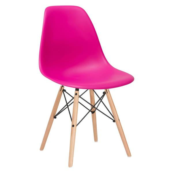 Poly and Bark Vortex Fuchsia Side Chair with Natural Legs