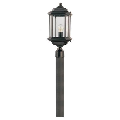 Kent 1-Light Black Outdoor Post Light with Clear Beveled Glass
