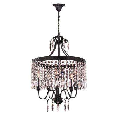 Enfield 5-Light Flemish Brass and Clear Crystal Chandelier