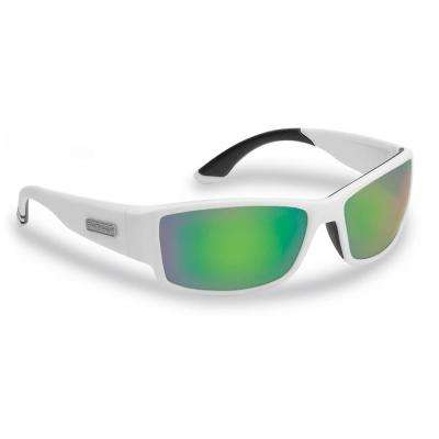 Razor Polarized Sunglasses Matte in White Frame with Amber Green Mirror Lens