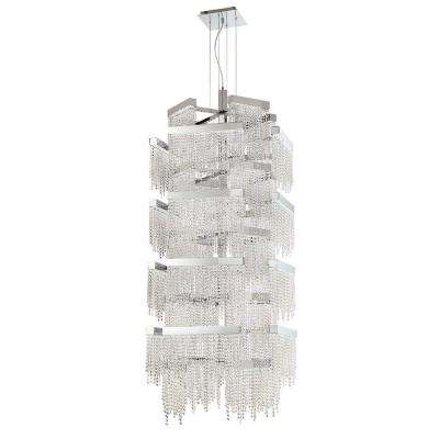 Rossi Collection 504-Watt Chrome Integrated LED Chandelier with Crystal Shade