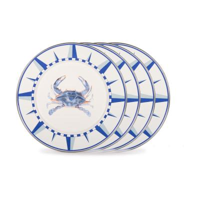 10.5 in. Blue Crab Enamelware Round Dinner Plate Set of 4