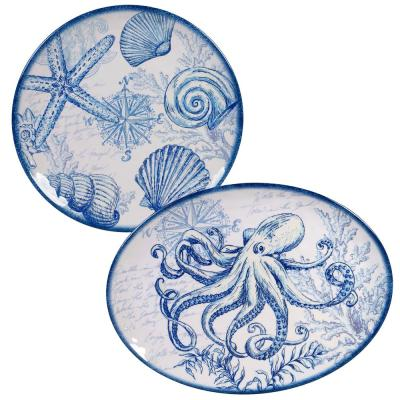 Oceanic 2-Piece Seasonal Multicolored Melamine 14 and 18 in. Platter Set