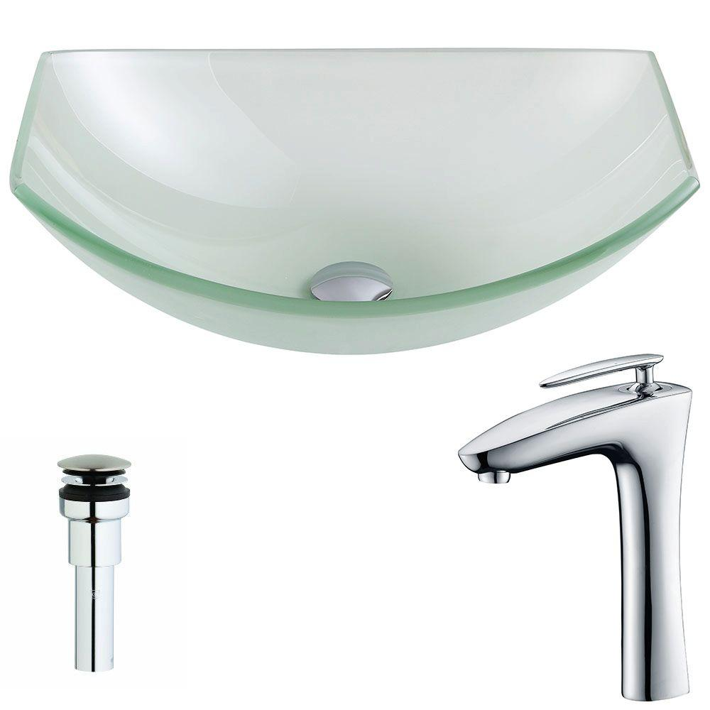 ANZZI Pendant Series Deco Glass Vessel Sink In Lustrous Frosted With Crown  Faucet In Chrome