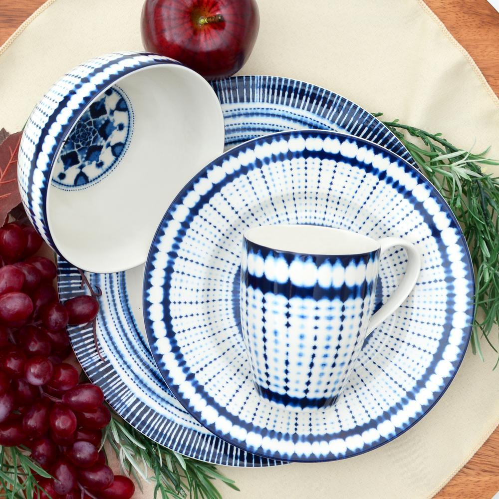 Shibori Blue 16-Piece Dinnerware Set