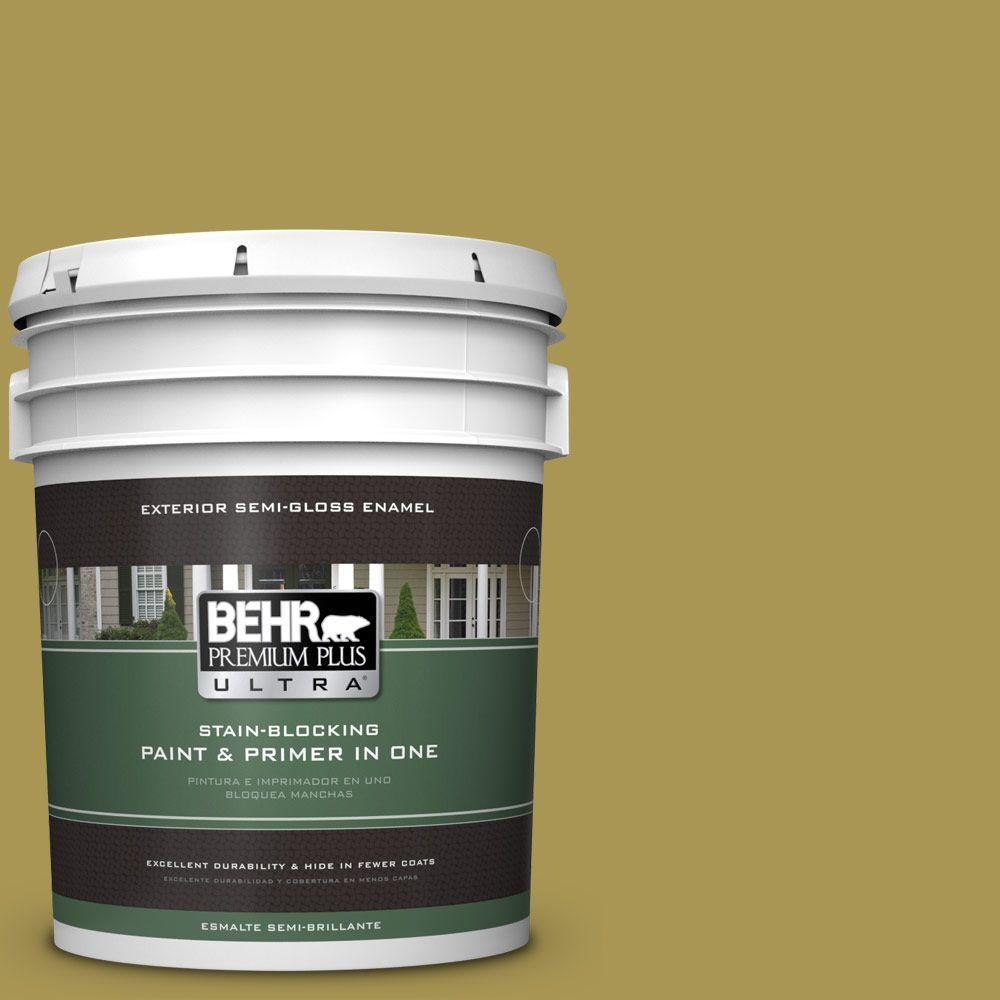 5-gal. #390D-6 Spring Moss Semi-Gloss Enamel Exterior Paint
