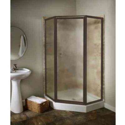 Prestige 24.12 in. x 68.5 in. Framed Neo-Angle Shower Door in Oil-Rubbed Bronze with Clear Glass