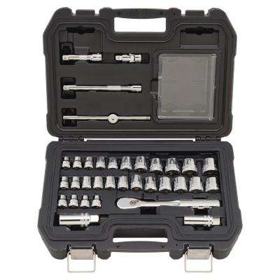 3/8 in Drive Combination Socket Set with Ratchet (34-Piece)