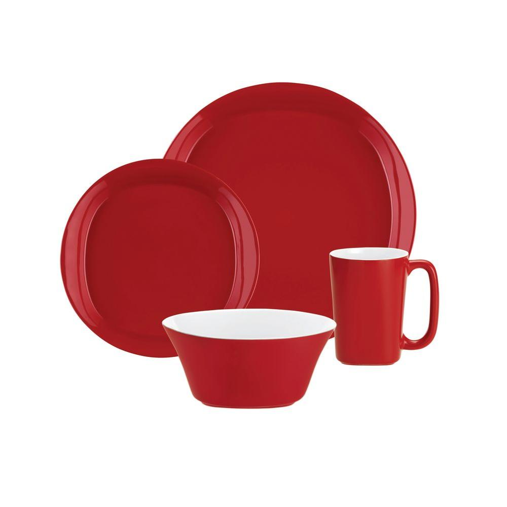 Rachael Ray Dinnerware Round and Square 4-Piece Dinnerware Set in Red  sc 1 st  The Home Depot & Rachael Ray Dinnerware Round and Square 4-Piece Dinnerware Set in ...