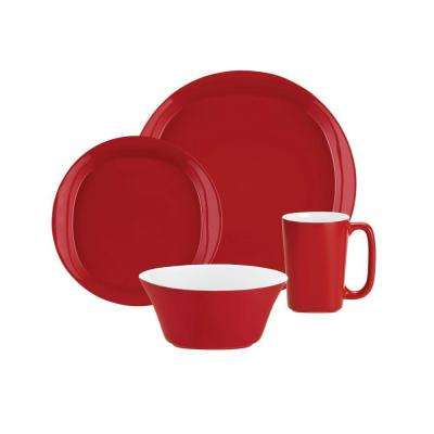 Dinnerware Round and Square 4-Piece Dinnerware Set in Red
