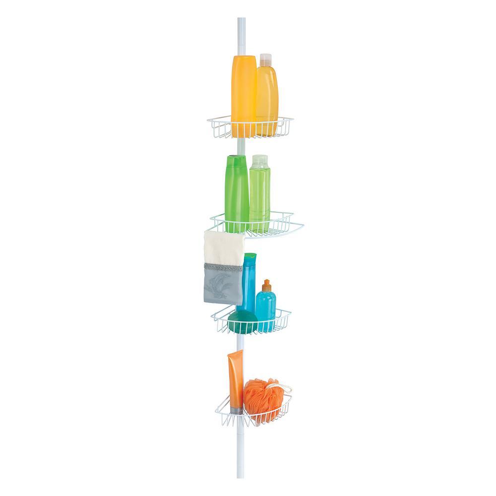 Bath Bliss 4 Tier Shower Organzer Pole, White