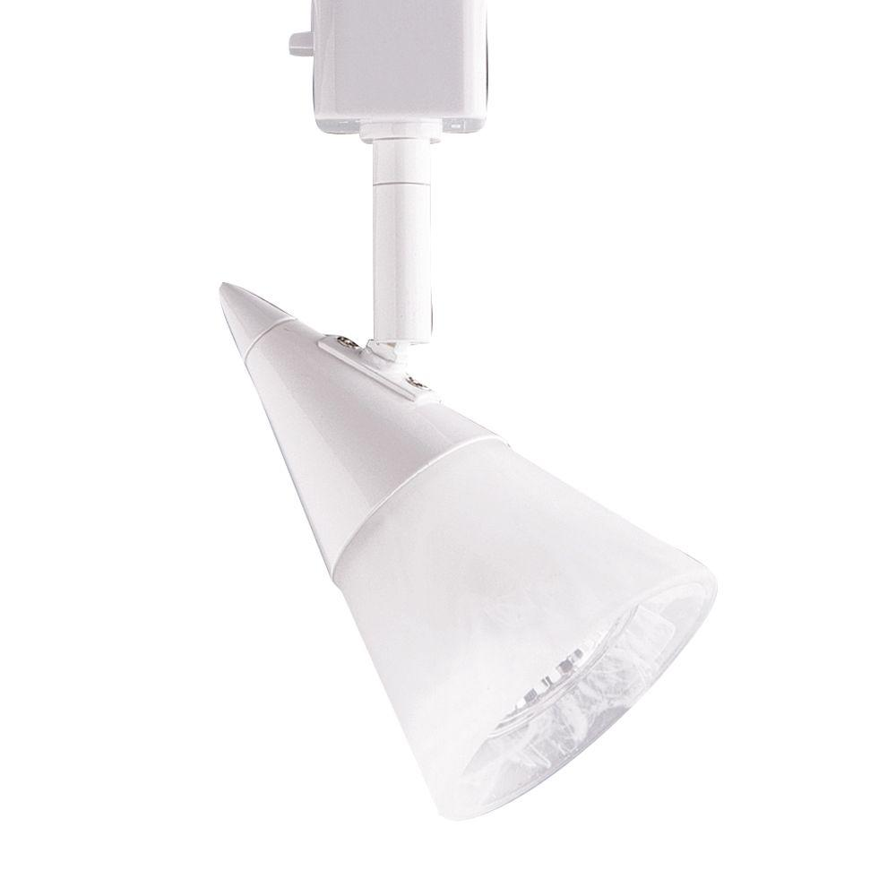 Series 2 Line-Voltage GU-10 White Track Lighting Fixture with Cone Glass