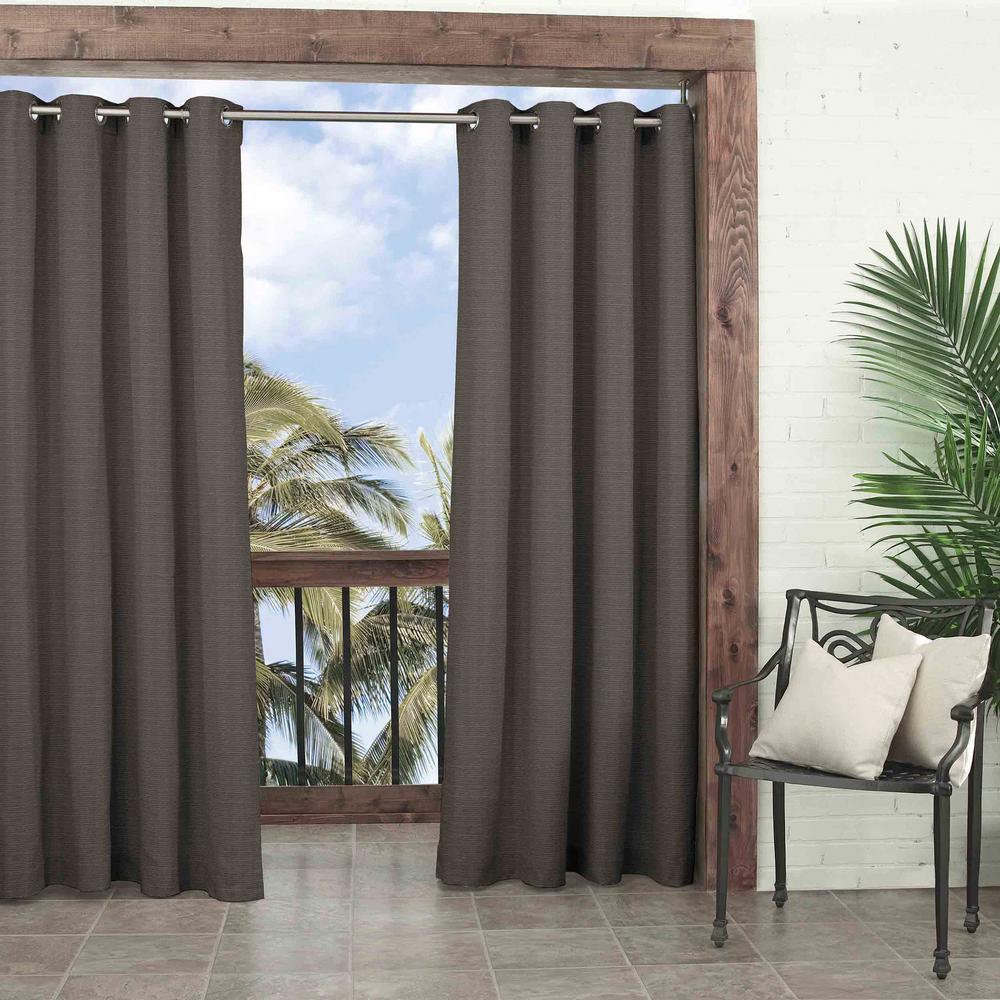52 in. W x 108 in. L Key Largo Room Darkening Olefin Window Curtain Panel in Smoke
