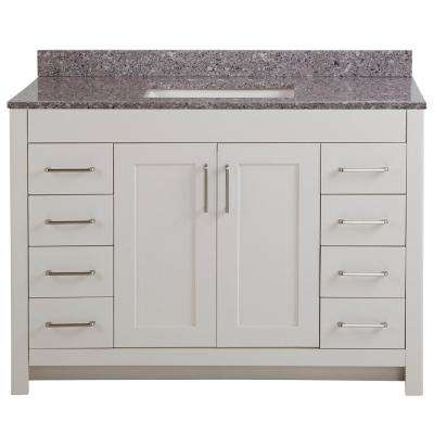 Westcourt 49 in. W x 22 in. D Bath Vanity in Cream with Stone Effect Vanity Top in Mineral Gray with White Sink