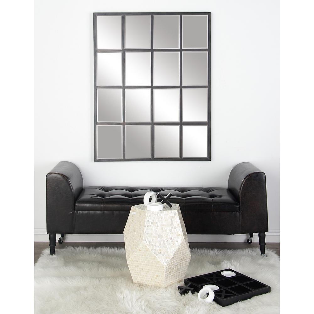 Rectangular Matte Gray Decorative Wall Mirror