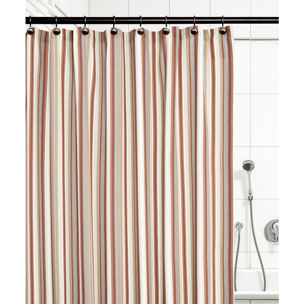 Mason Stripe 72 in. Clay Shower Curtain