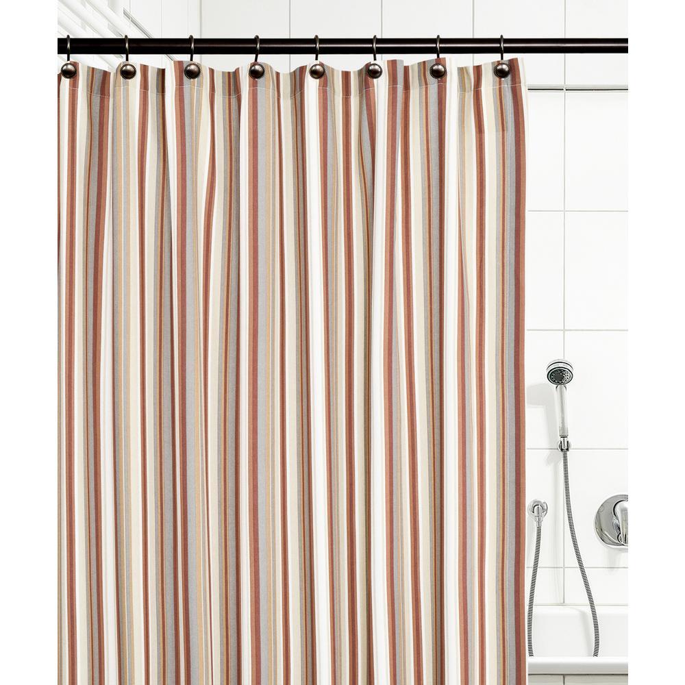 Mason Stripe 72 in. Clay Shower Curtain