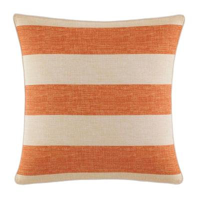 Palmiers Orange Striped Cotton 18 in. x 18 in. Throw Pillow