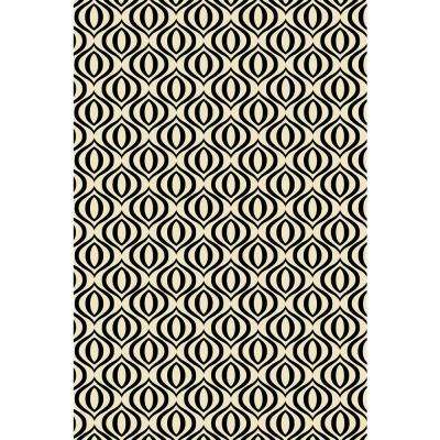 Ring of European Design  2ft x 3ft black & white Indoor/Outdoor vinyl rug.