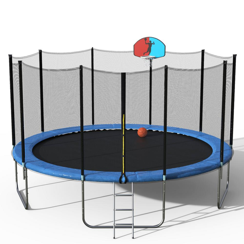 Merax 12-Feet Round Trampoline w//Safety Enclosure Net Basketball Hoop and Ladder