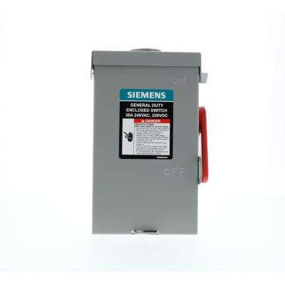 General Duty 30 Amp 2-Pole 3-Wire 240-Volt Fusible Outdoor Safety Switch