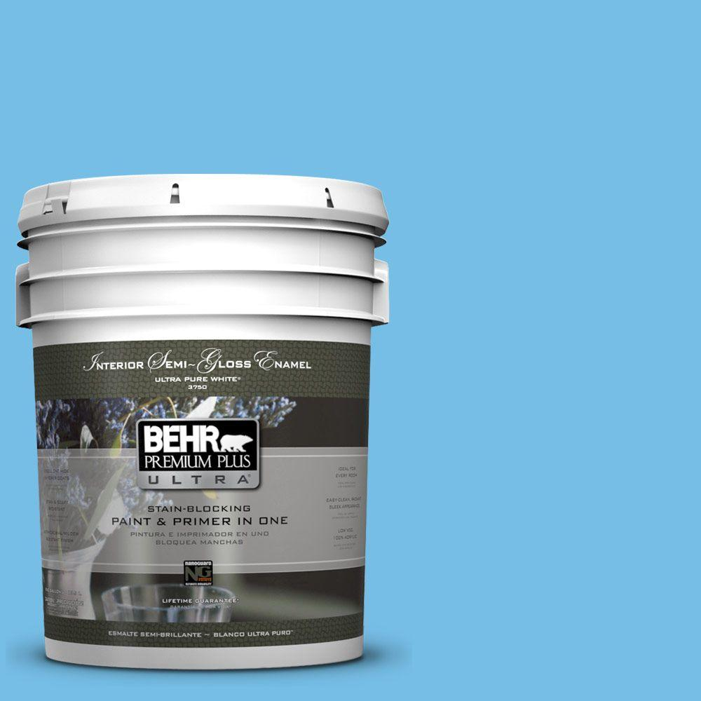 5-gal. #550B-4 Costa Rica Blue Semi-Gloss Enamel Interior Paint