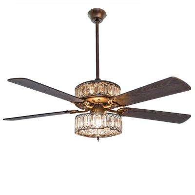 Geometric Diamond 52 in. Clear Crystal LED Ceiling Fan With Light