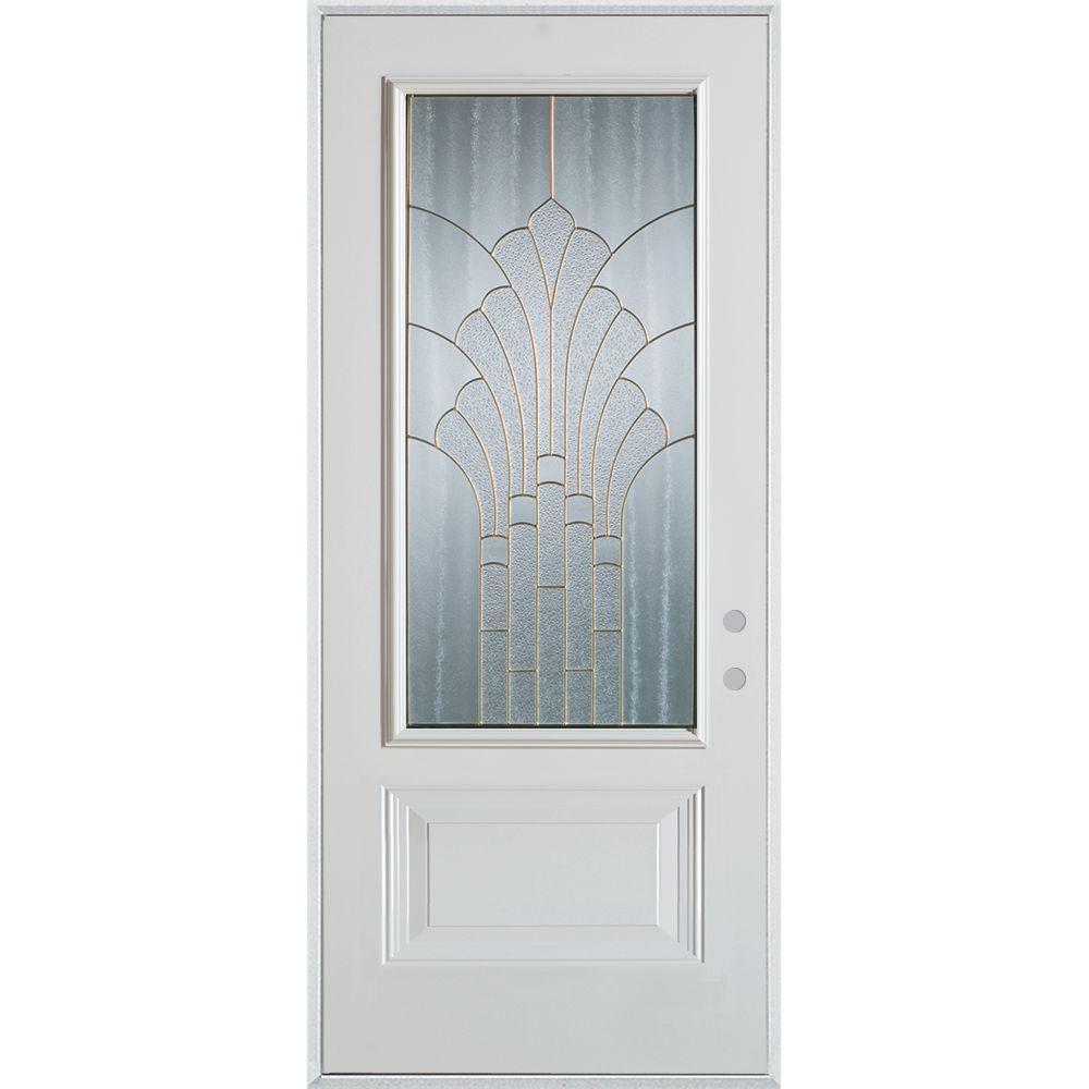 36 in. x 80 in. Art Deco 3/4 Lite 1-Panel Painted White Left-Hand Inswing Steel Prehung Front Door
