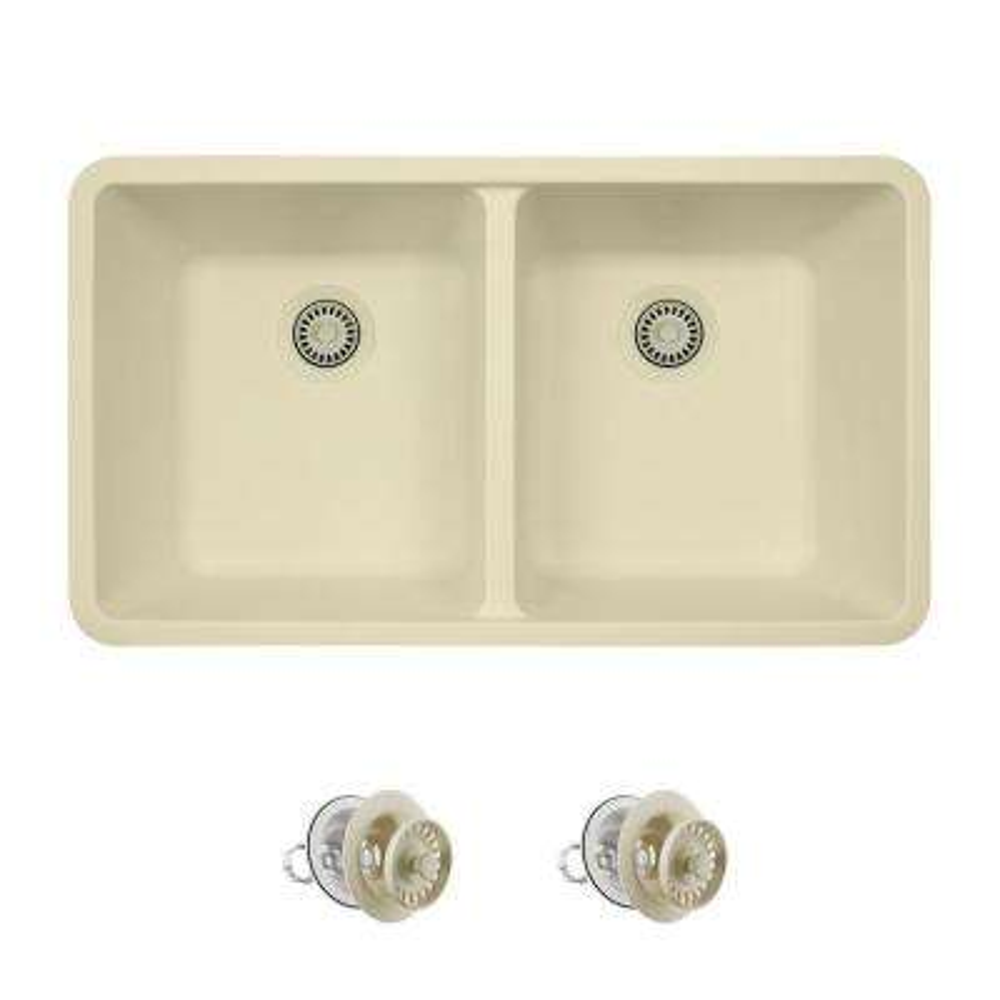 All-in-One Undermount Quartz 32.5 in. 0-Hole Double Bowl Kitchen Sink in Beige