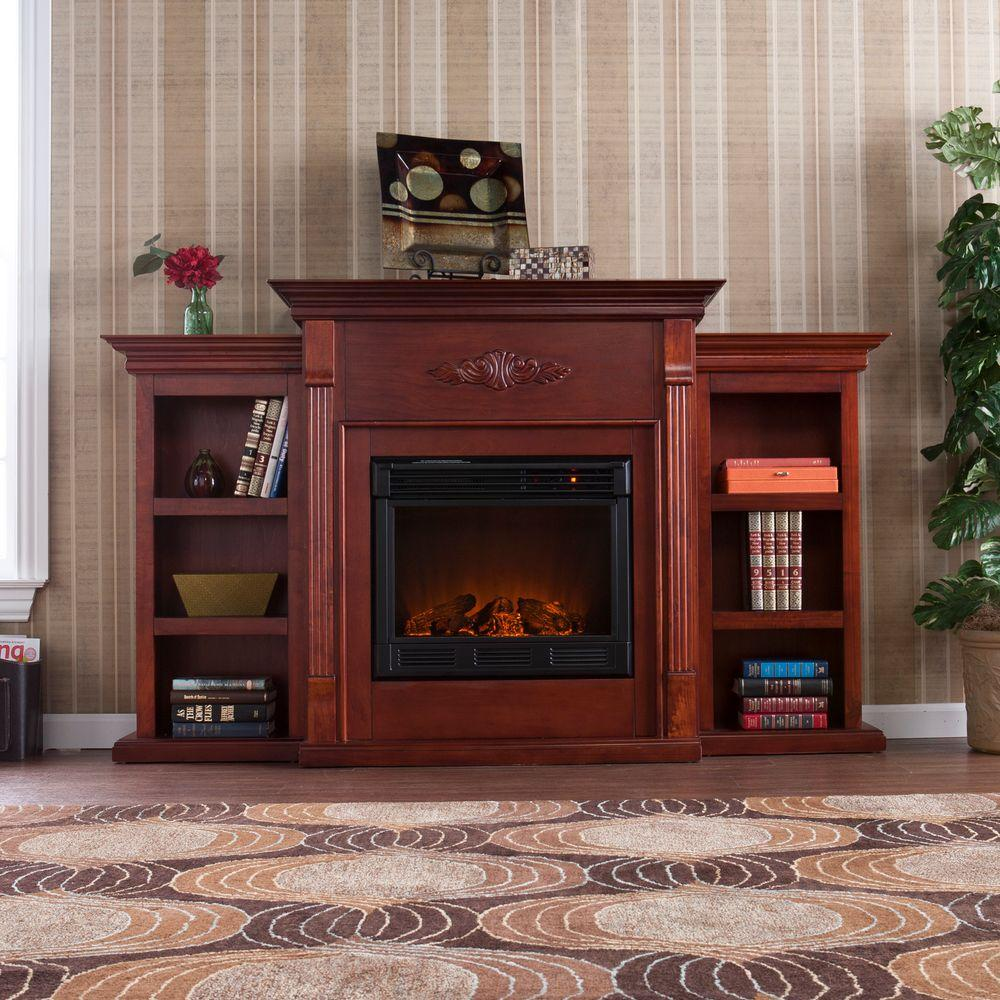 Southern Enterprises Tennyson 70 in. Electric Fireplace in Mahogany with Bookcases