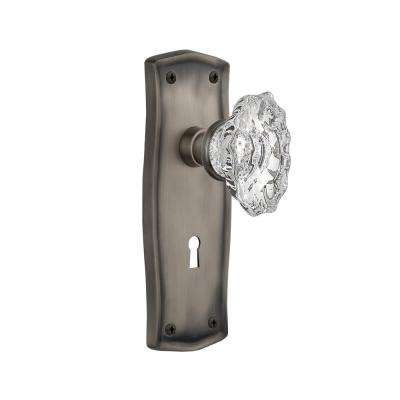 Prairie Plate with Keyhole 2-3/4 in. Backset Antique Pewter Privacy Chateau Door Knob