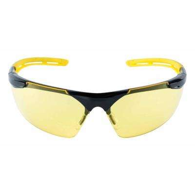 Safety Eyewear Glasses Comfort Black Frame with Yellow Accent Amber Anti Fog and Scratch Resistant Lens (Case of 6)