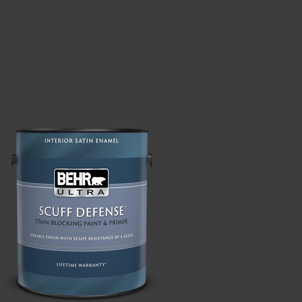 1 gal. #PPF-59 Raven Black Extra Durable Satin Enamel Interior Paint & Primer