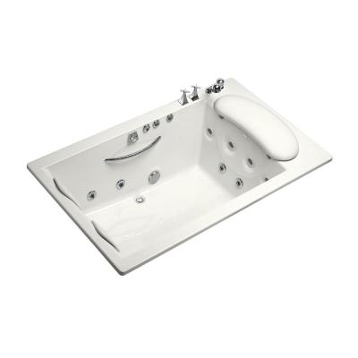 RiverBath Quadrangle 3.83 ft. Whirlpool Tub with Heater and Center Drain in White