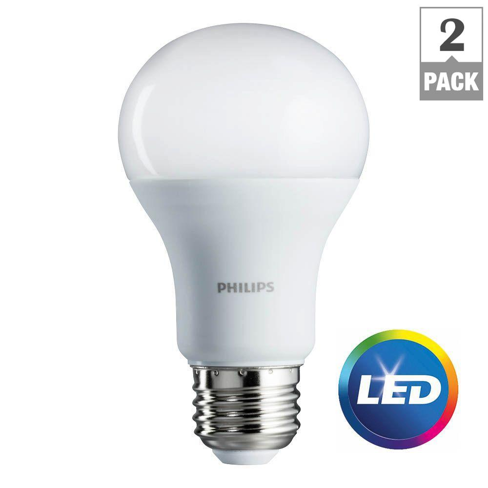 philips 100 watt equivalent a19 led light bulb daylight 2 pack 462002 the home depot. Black Bedroom Furniture Sets. Home Design Ideas