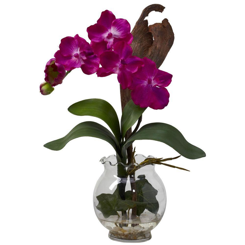 undefined 15 in. H Beauty Mini Vanda with Fluted Vase Silk Flower Arrangement