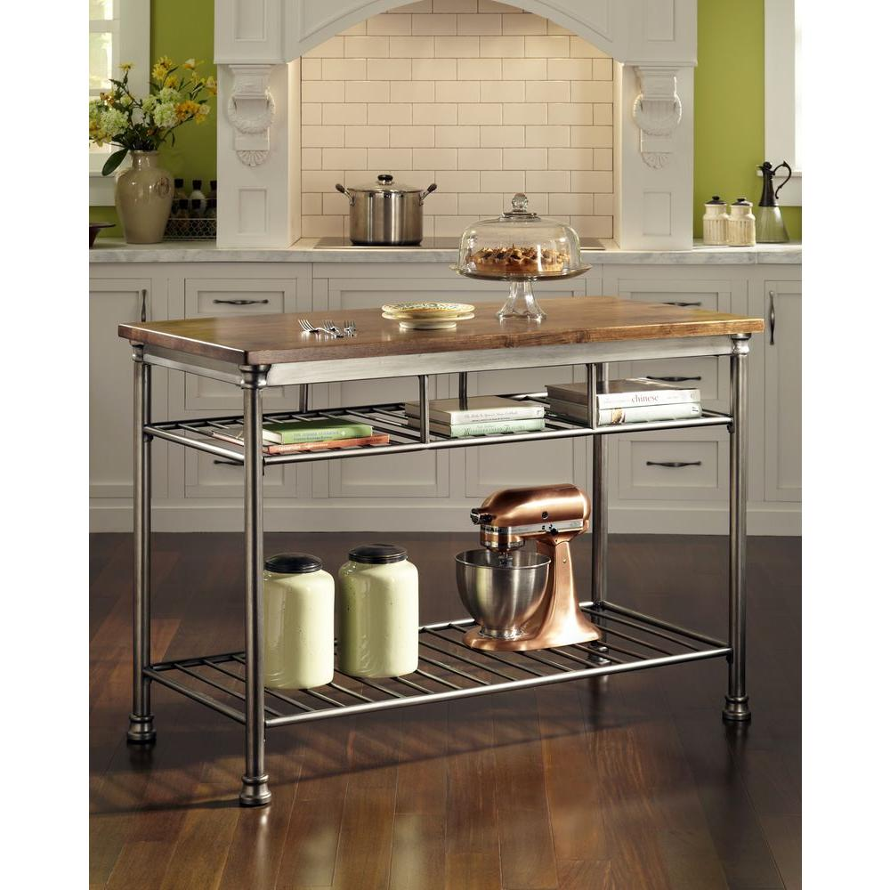 the orleans vintage carmel kitchen utility table - Kitchen Island Home Depot