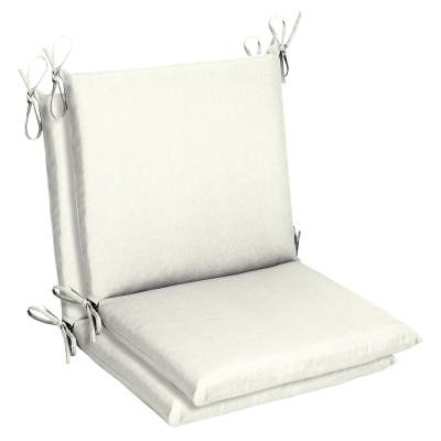 Belcourt 19 x 36 Sunbrella Canvas White Mid Back Outdoor Dining Chair Cushion (2-Pack)