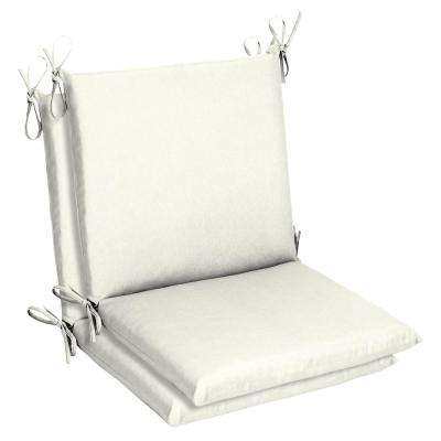 19 X 17 Sunbrella Canvas White Mid Back Outdoor Dining Chair Cushion 2 Pack
