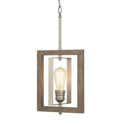 Palermo Grove 1-Light Antique Nickel Mini-Pendant with Painted Weathered Gray Wood Accents