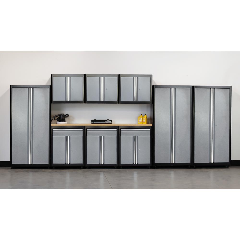 75 in. H x 198 in. W x 18 in. D Welded Steel Garage Cabinet Set in Black/Multi-Granite (10-Piece)