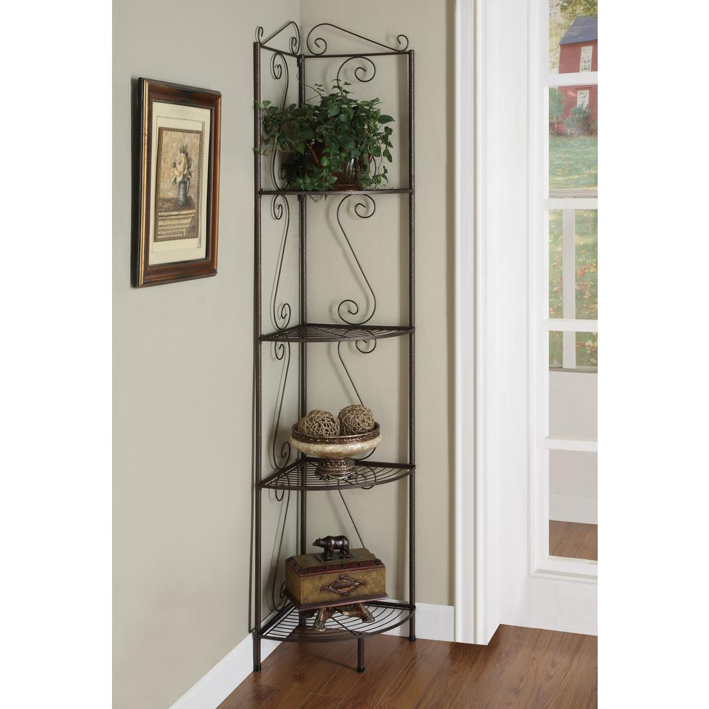 Monarch Specialties Copper Corner Open Bookcase, Copper M...