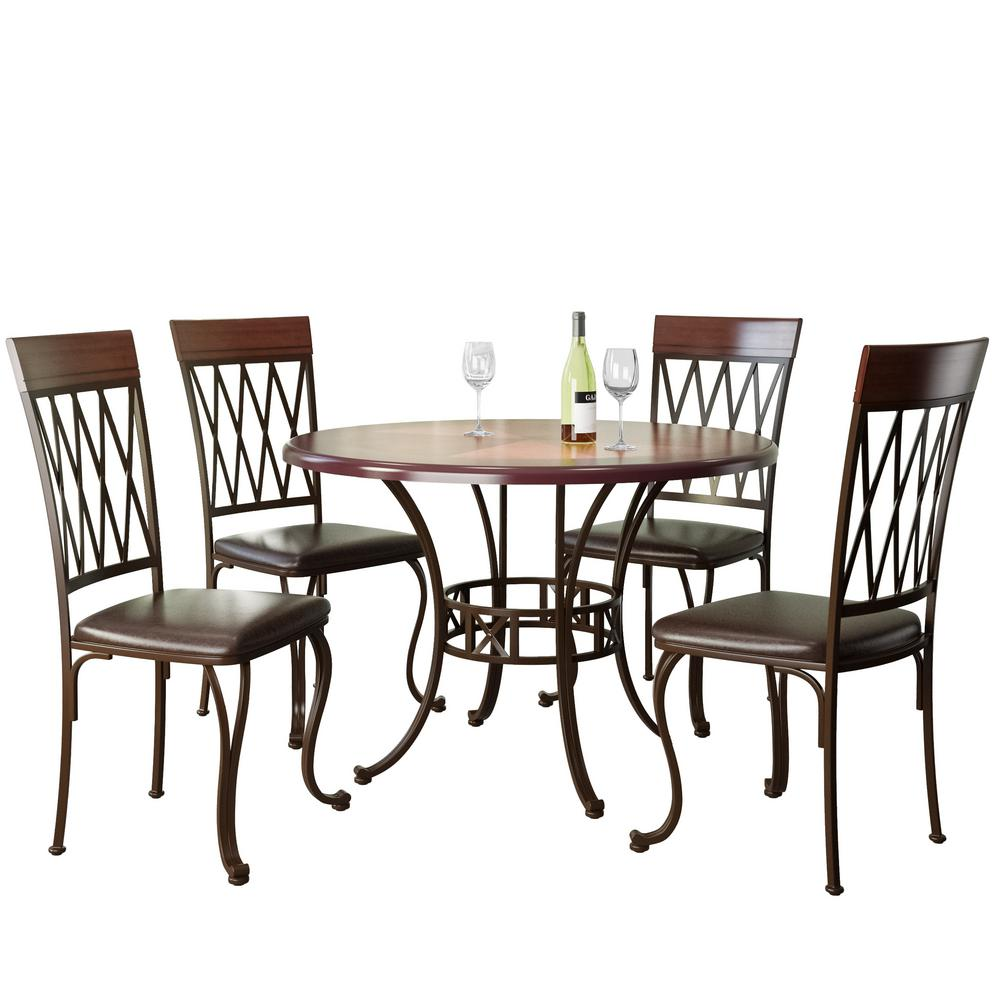 Jericho 5-Piece Metal and Warm Stained Wood Dining Set