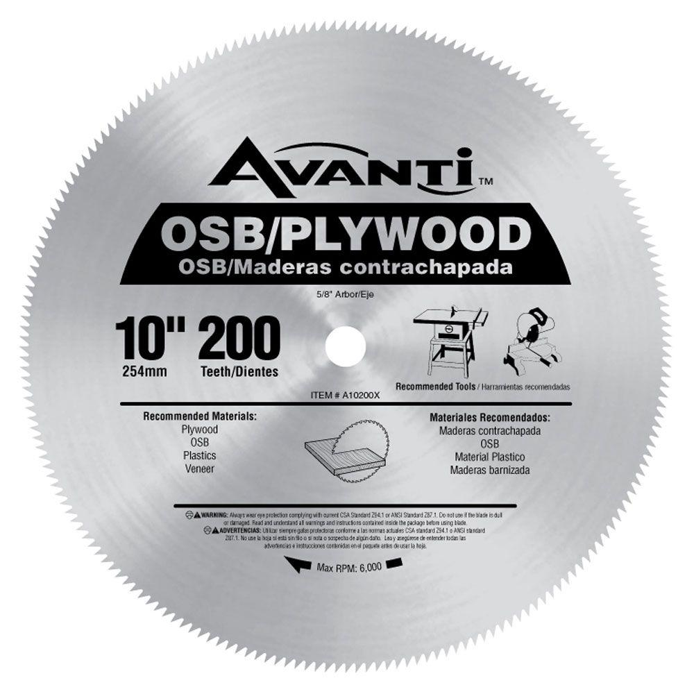 Avanti 10 In X 200 Teeth Osb Plywood Saw Blade A10200x