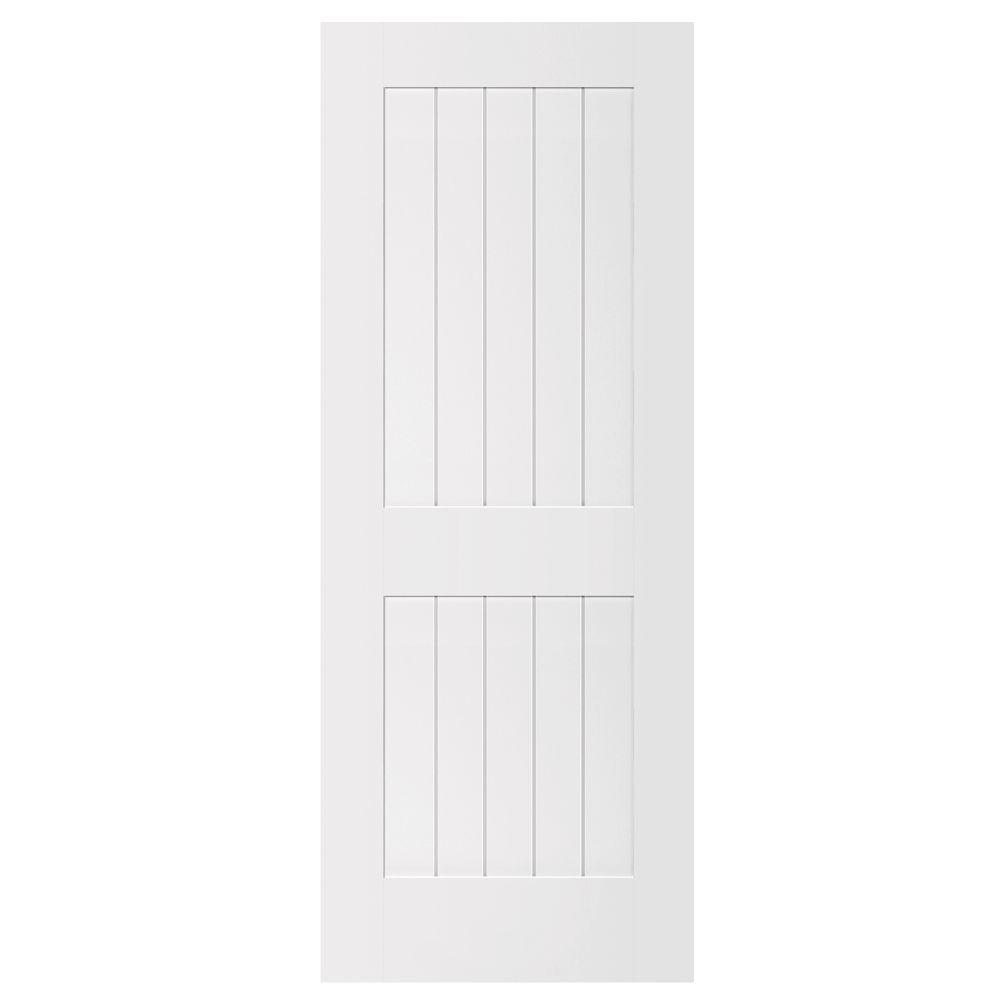 Steves & Sons Ultra 2-Panel Square Top Plank Smooth MDF Primed White Interior Door Slab-DISCONTINUED