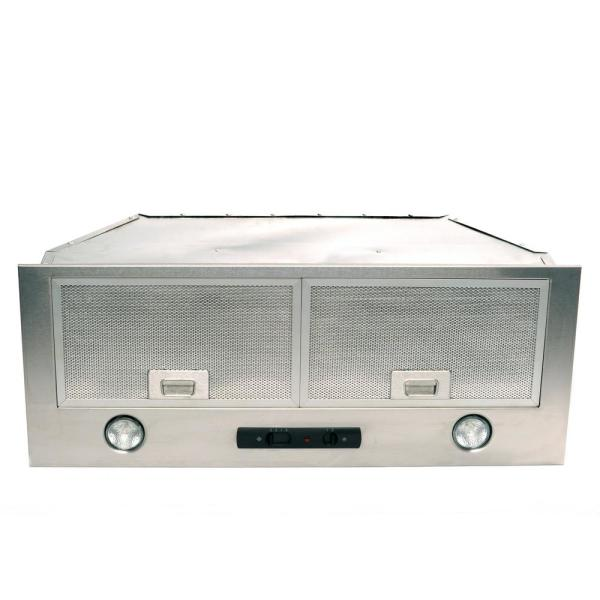 Classic Collection 28 in. 550 CFM Top Venting, Three Speeds, Insert Range Hood with Light in Stainless Steel