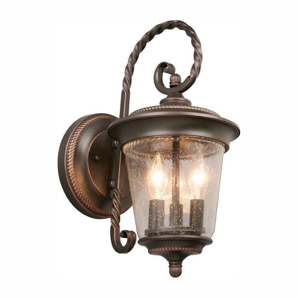 Hampton Bay 3-Light Oil-Rubbed Bronze Outdoor Wall Lantern Sconce