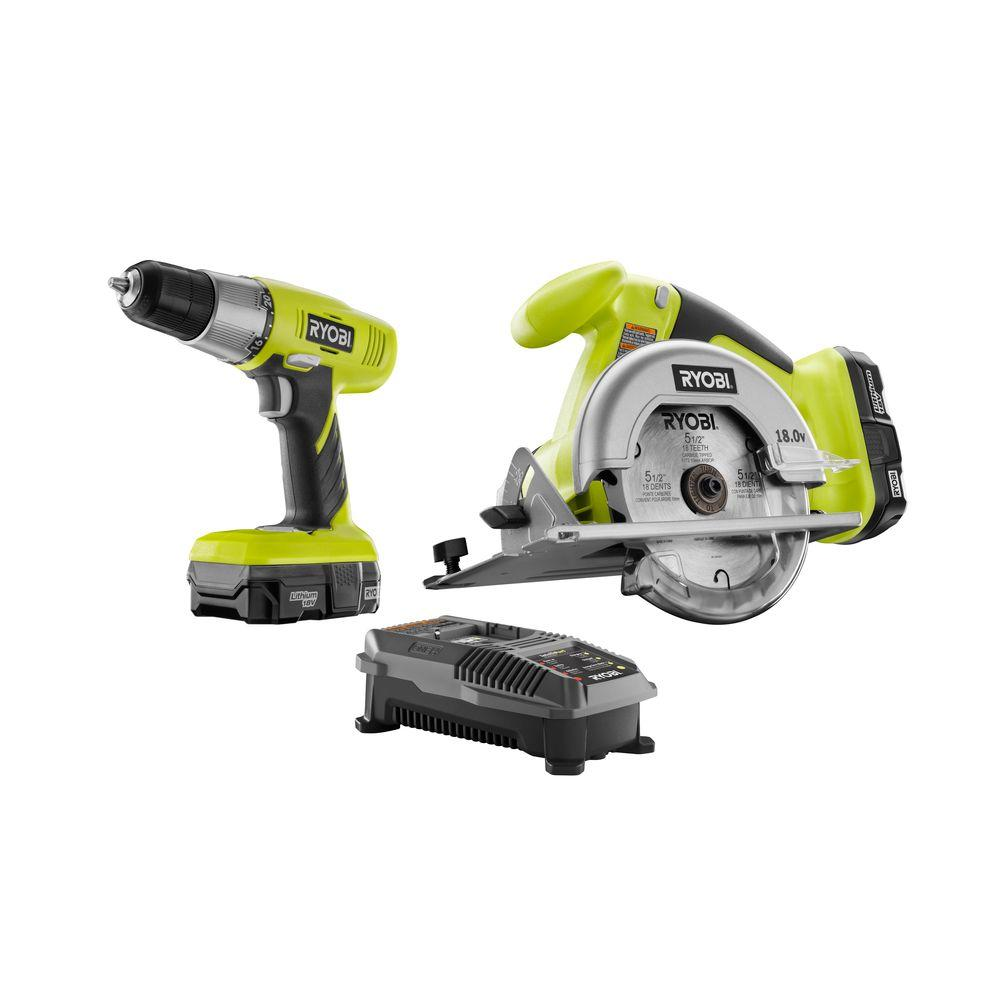 RYOBI 18-Volt ONE+ Lithium-Ion Drill/Driver and Circular Saw Kit