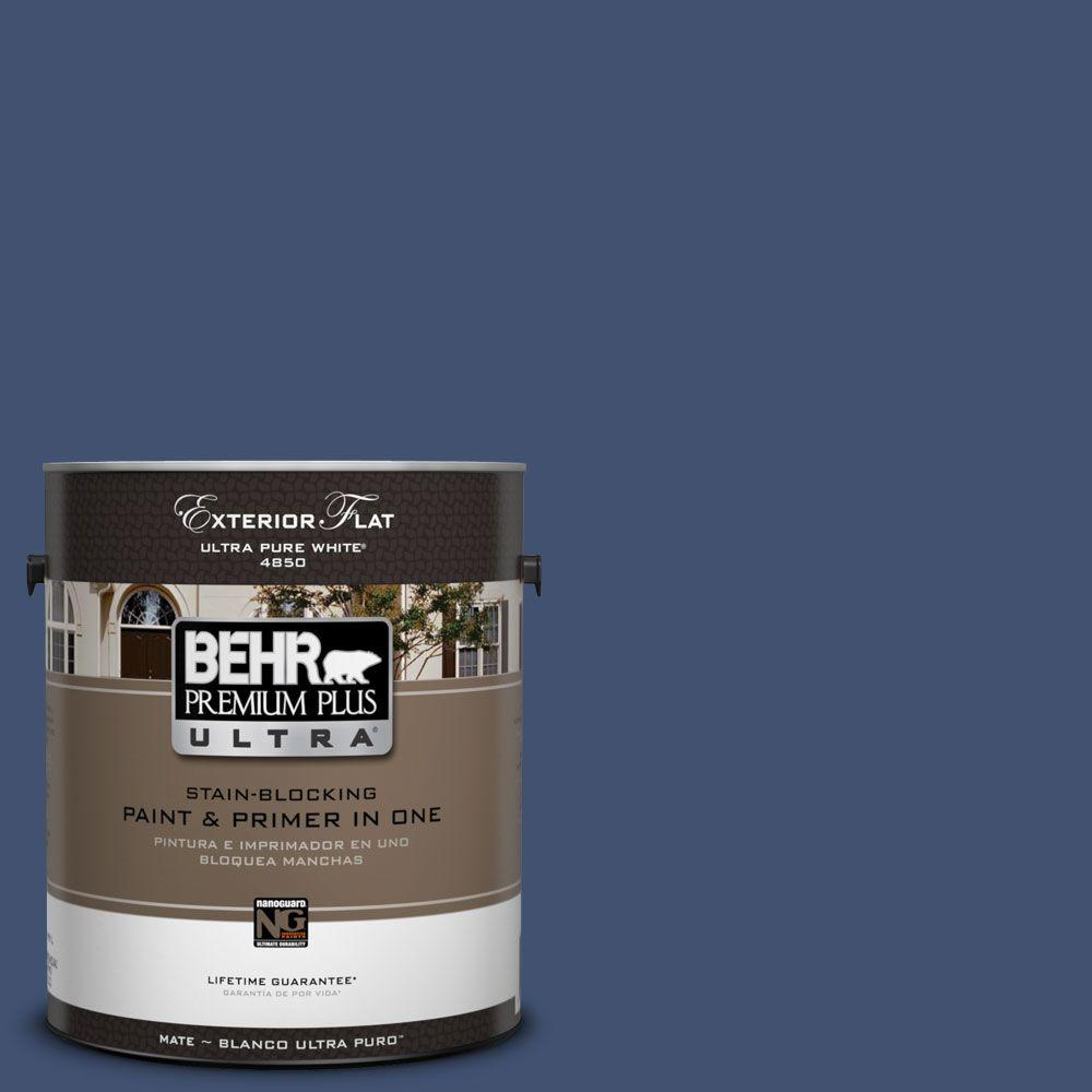 BEHR Premium Plus Ultra 1-Gal. #UL240-22 Signature Blue Flat Exterior Paint
