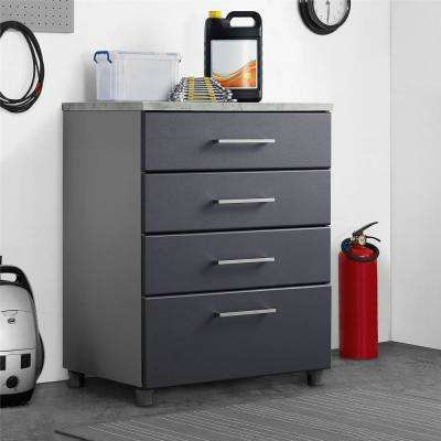 Latitude 35.5 in. H x 27.7 in. W x 19.8 in. D Particle Board Freestanding 4 Drawer Base Cabinet in Gray
